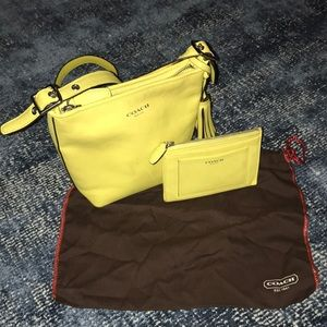 Coach Yellow Leather Tassel Crossbody and Wallet